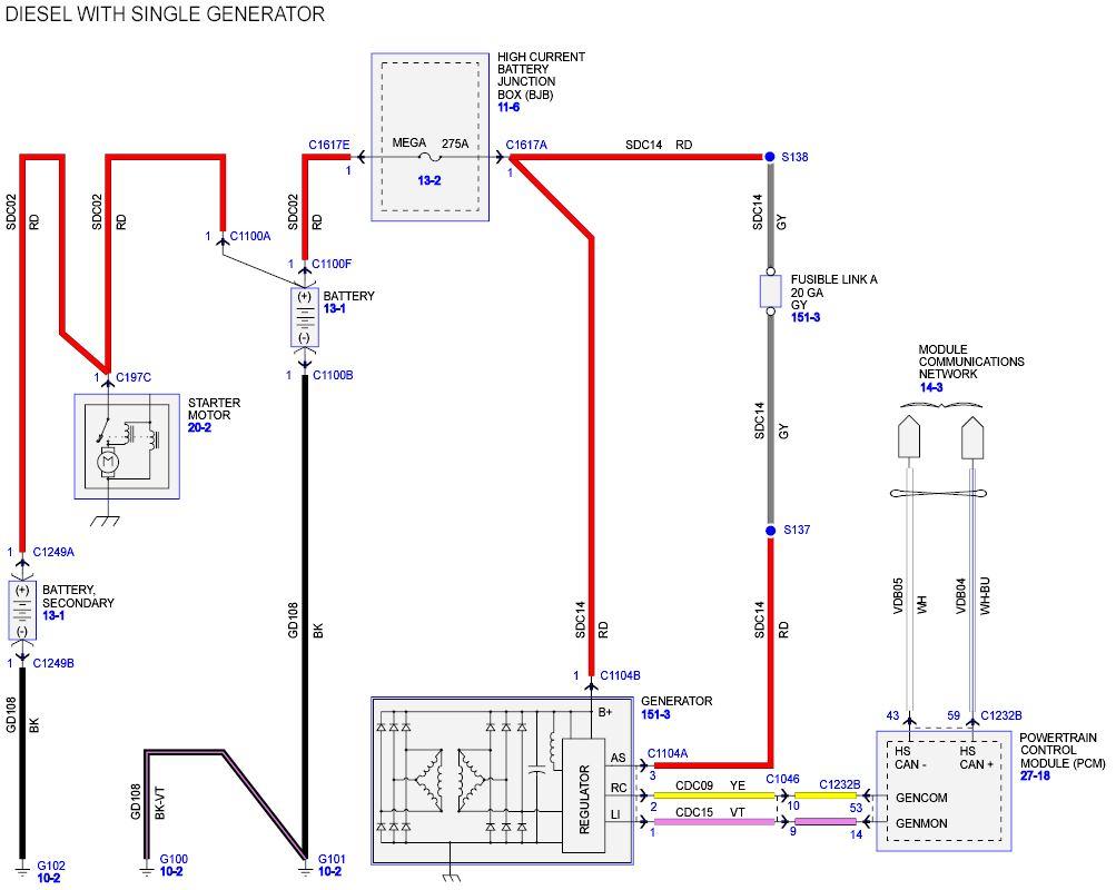 Alternator Wire Fusible Link Location Ford Powerstroke Diesel Forum