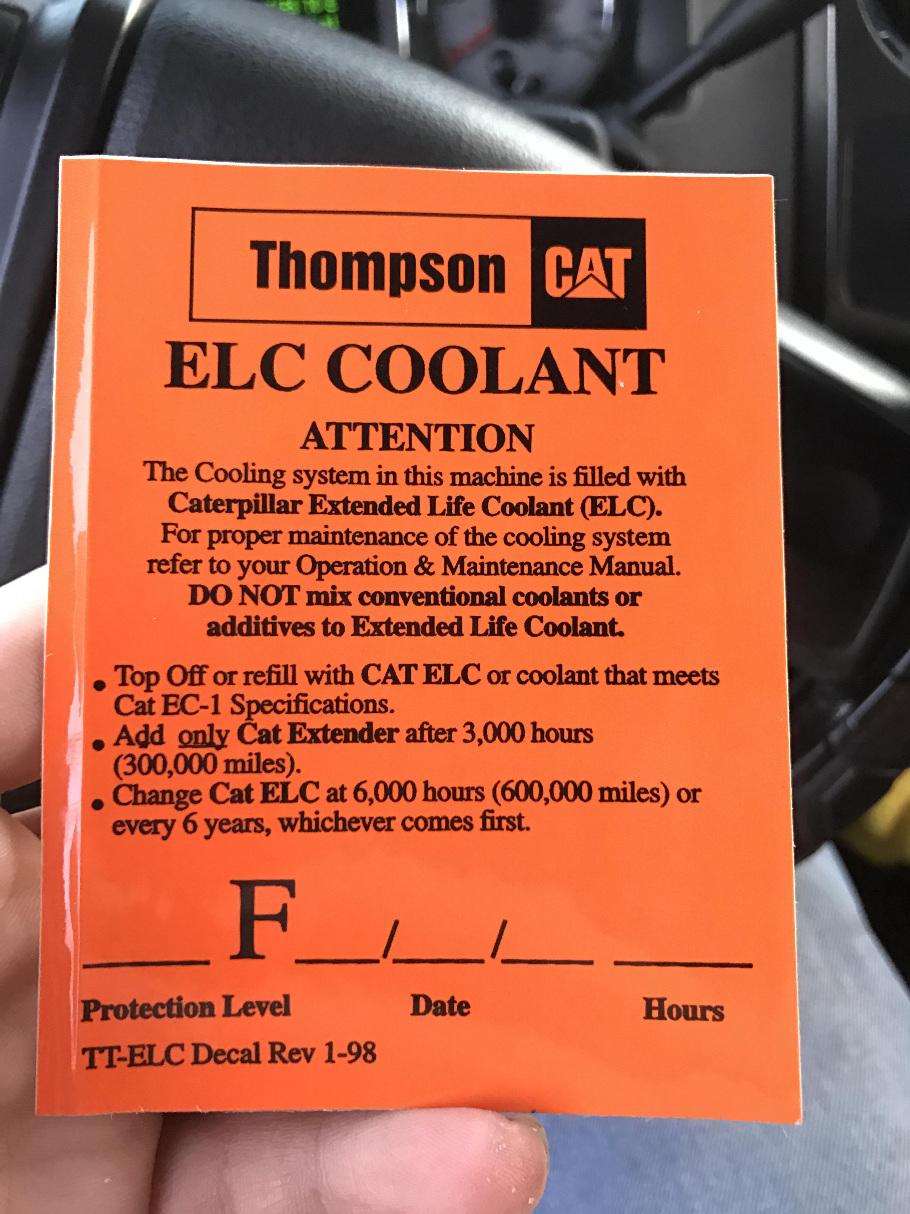 Cat Elc Coolant Sticker Ford Powerstroke Diesel Forum